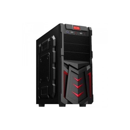 Корпус GTT ELEGANT2000RT без БП ATX - 2*USB2,1*USB3, 2*5.25ext, 4*3.5int BLACK/RED