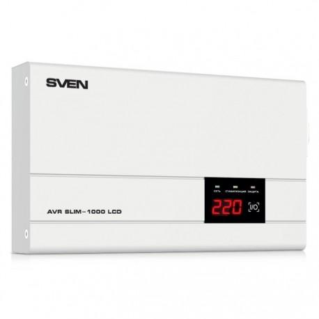 Стабилизатор SVEN AVR SLIM-1000 LCD 100ВА/800Вт Выходные розетки, шт 1 × CEE7/4 (евророзетка)